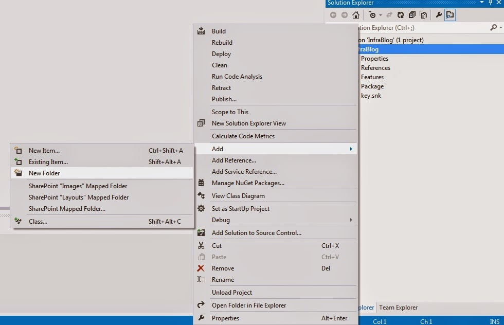 Add New Folder Visual Studio 2012