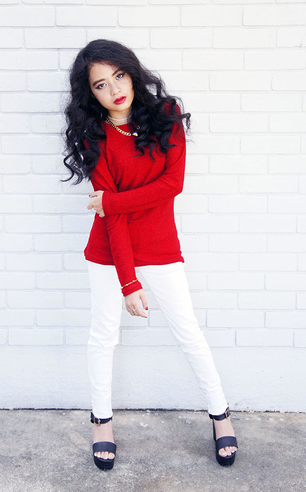 New Year 2016, Red Shimmer Knitted Top, White Skinny Jeans, Agape Boutique Chunky Platform Heels, Playful & Snazzy, Handmade Jewelry, Chunky Crystal Chain Necklace, Swarovski, Loose Curls, Red and White, Gold, NYE Outfit, Glam Look, Romantic Look
