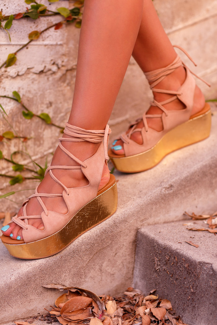 SEE BY CHLOE Lace-up metallic leather & suede platform sandals