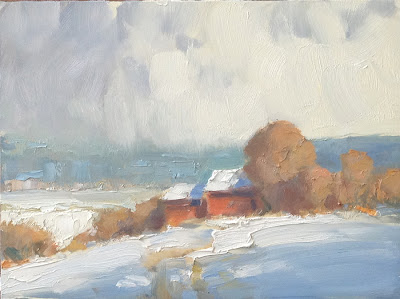 Fresh Snow painting on panel by Steve Allrich #landscape #painting