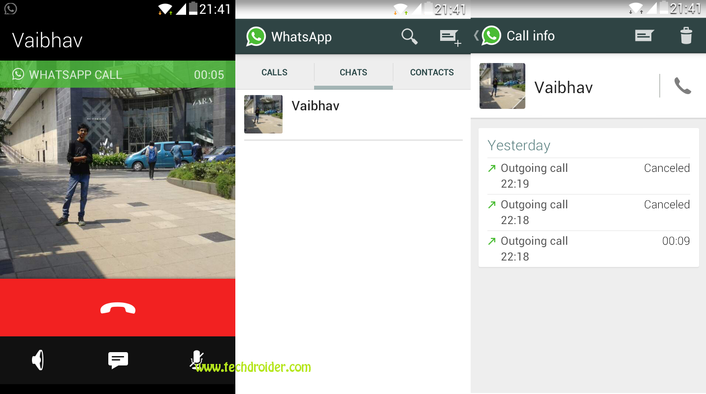 whatsapp calling feature android