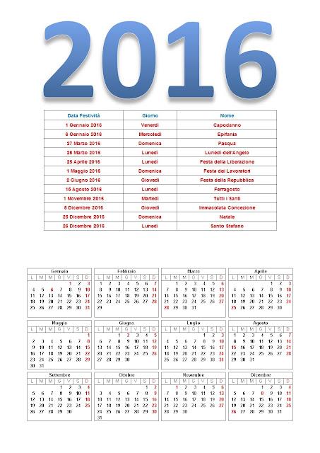 Calendario 2016 con giorni festivi