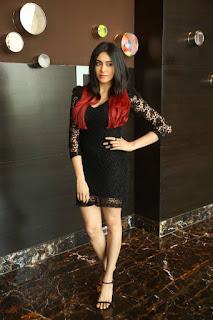 Actress Adah Sharma Stills in Black Lace Short Dress at IIFA Utsavam Press Meet Event 2015  0021