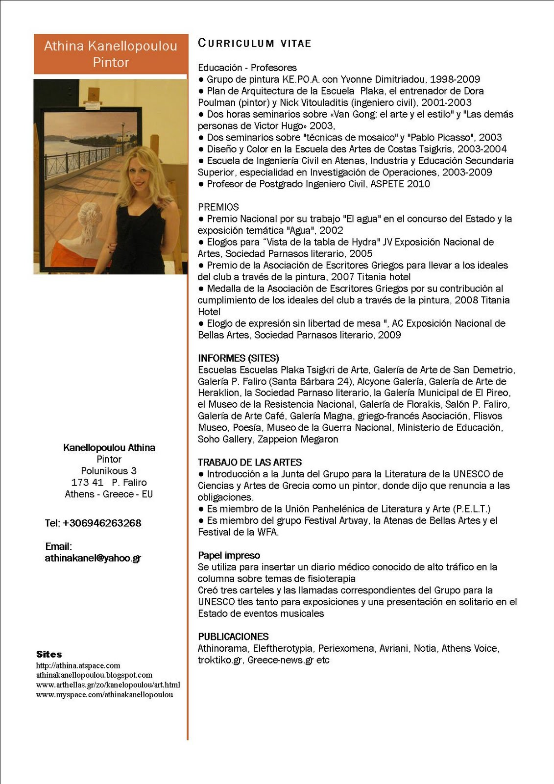 Athina Kanellopoulou CV Βιογραφικό Gr En Es
