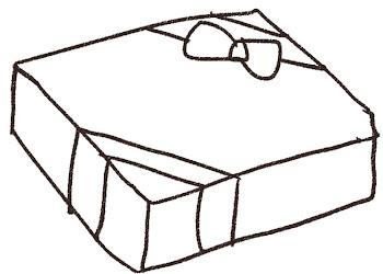 プレゼントのイラスト「赤い包装」線画