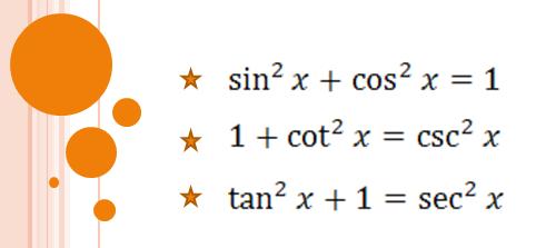 Funciones pitagoricas trigonometricas