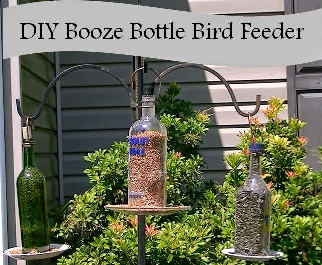 Upcycled stuff how to make a bird feeder from a liquor bottle for Things to make out of liquor bottles