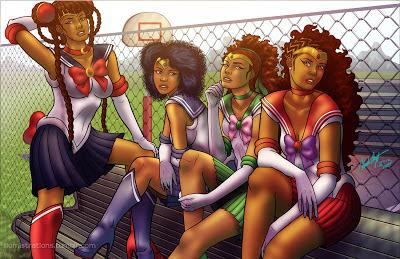 Sailor Moon, sailor scouts, black, african american, superheroes, black heroes