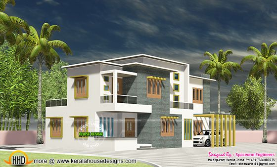 Flat roof house at Calicut, Kerala