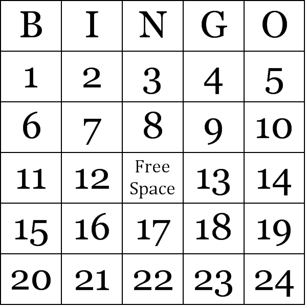Striking image in number bingo printable