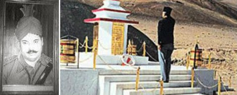 DSP Karam Singh of ITBP (left) and the Memorial (right) for the security personnel killed during the fighting on 21st of October 1959