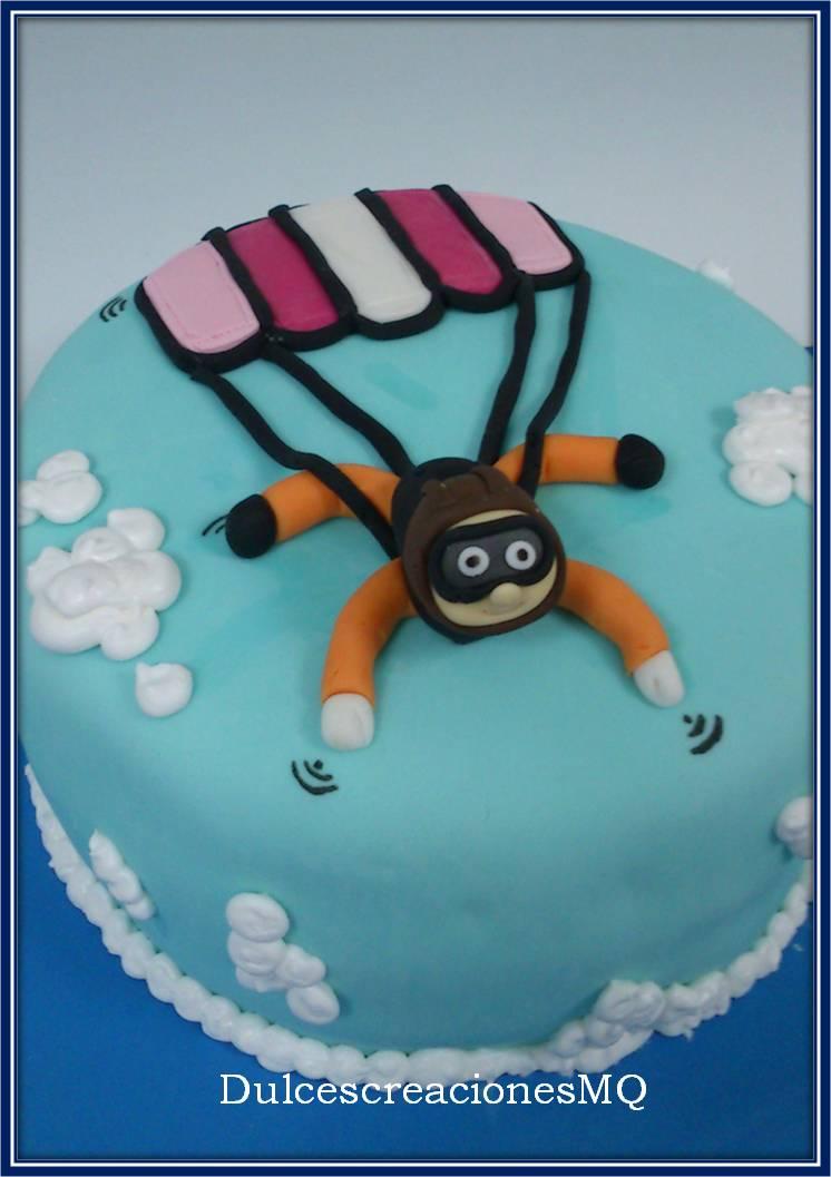 Tarta Paracaidista Pastel Paracaídas Fondant Cumpleaños Aniversario Bizcocho Victoria Sponge Cake Esponjoso Niño Niña