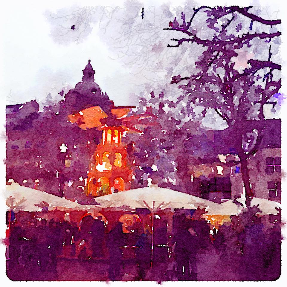 Christmas market bonn watercolor painting