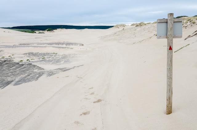 track marker amongst sand dunes