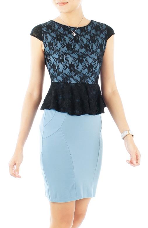 Periwinkle Blue Black Love Peplum PETITE Dress