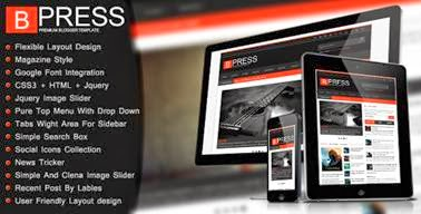 Bpress v1.6 New & Responsive/Magazine Blogger Template