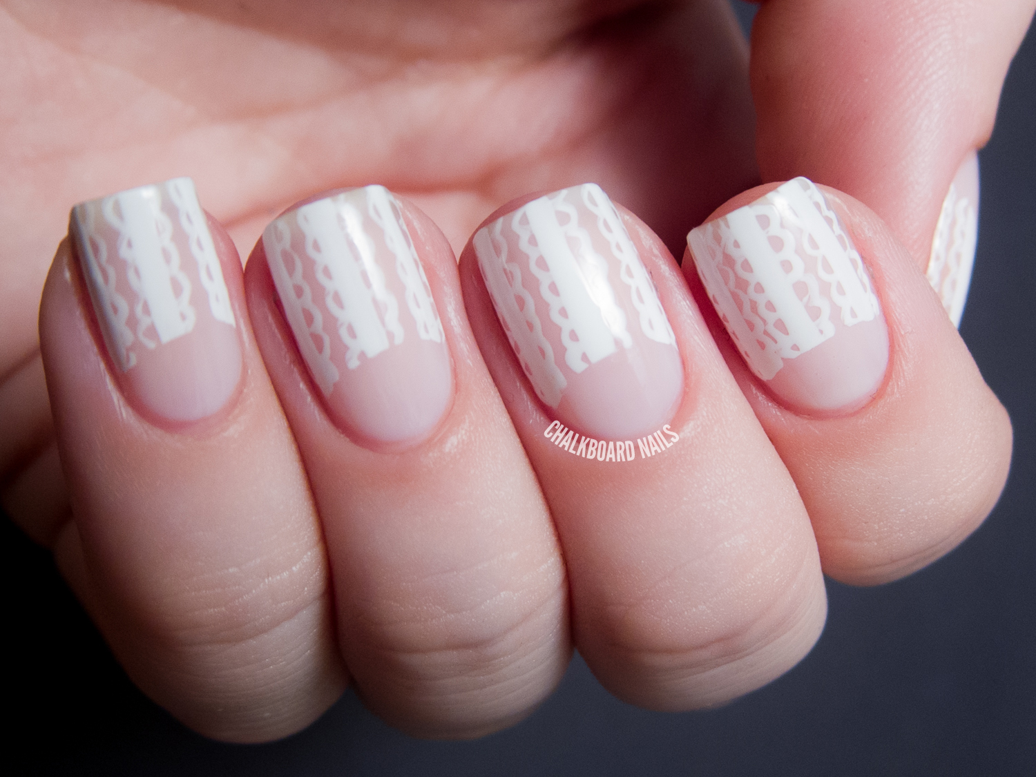 31DC2013 Day 18: Lace Half Moons | Chalkboard Nails | Nail ...
