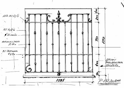 Diseño de balcón de reja de forja