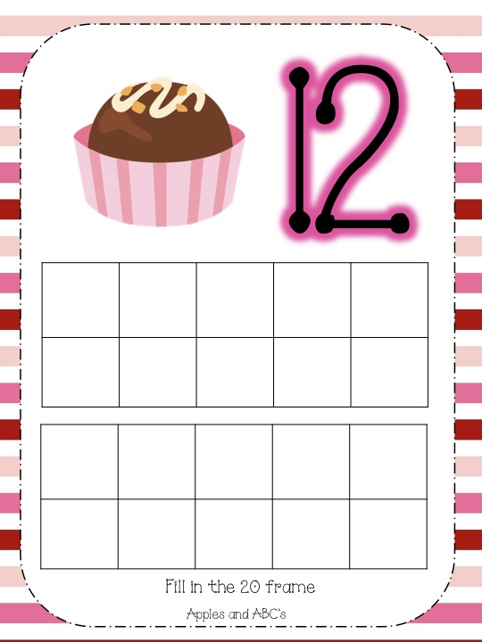 Valentine\'s Day 20 Frames for Math - Apples and ABC\'s