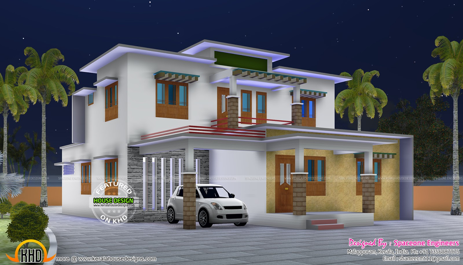 September kerala home design floor plans sq feet flat for Kerala home design flat roof elevation