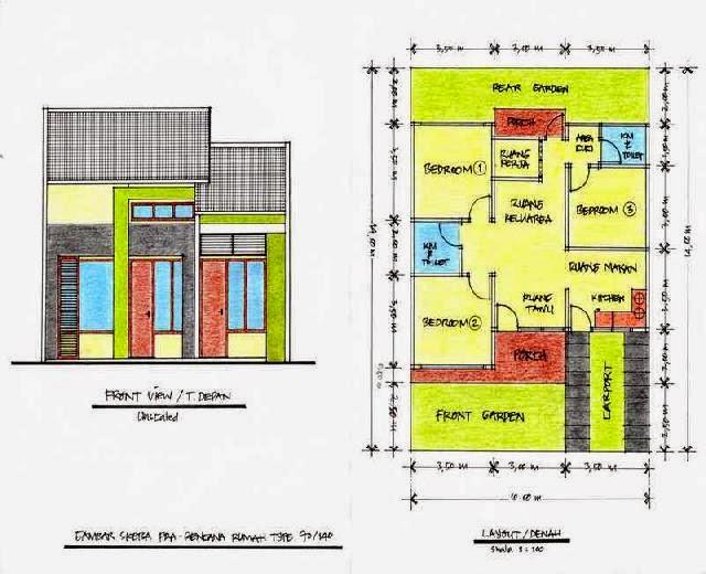 Denah Rumah Ukuran 9x20   Desainrumahminimalis2015
