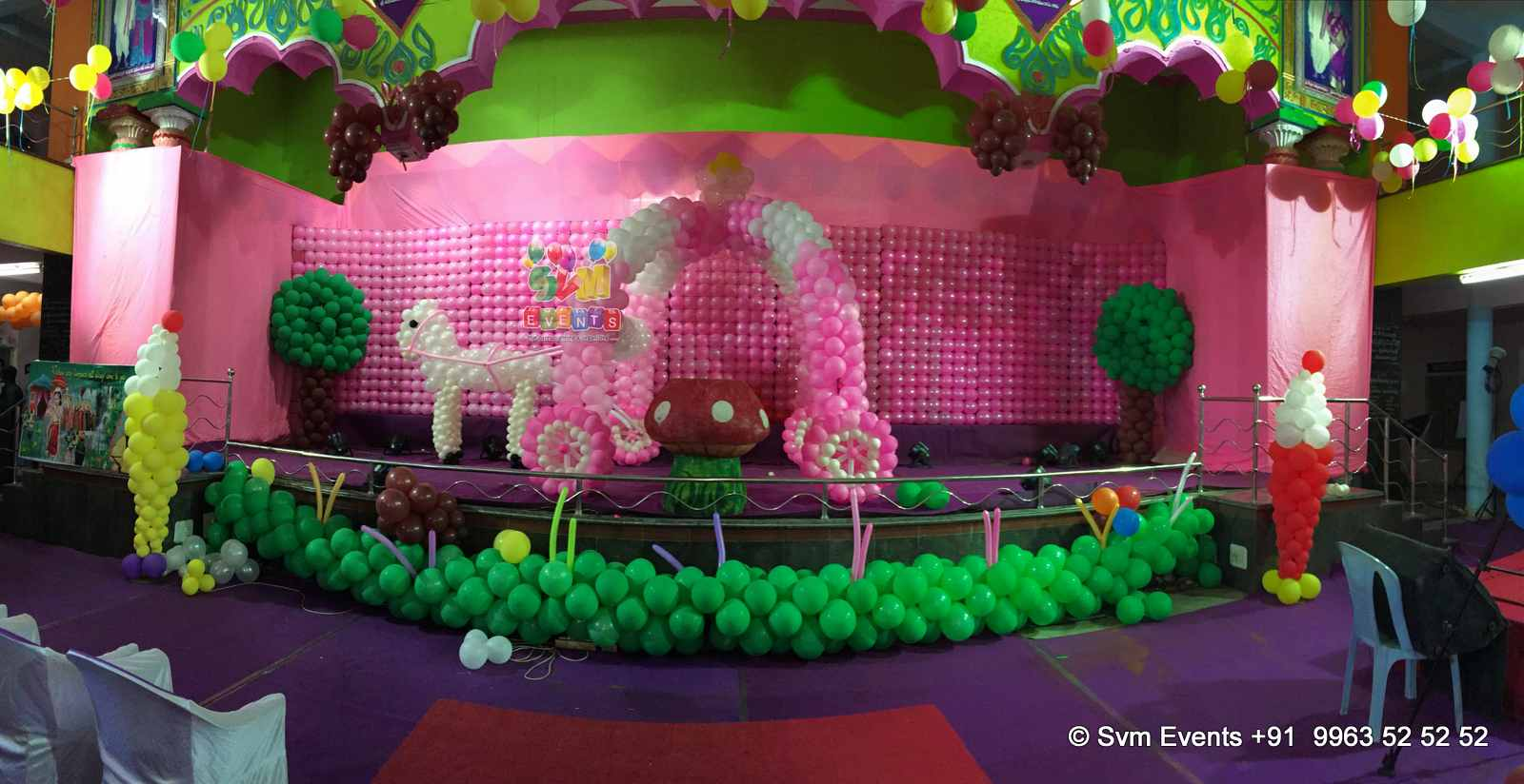 Svm events chariot theme for kids 1st birthday party and for Balloon decoration for first birthday