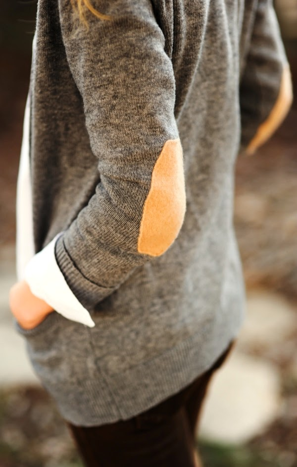 Brown Elbow Patches Grey Cardigan Fashion