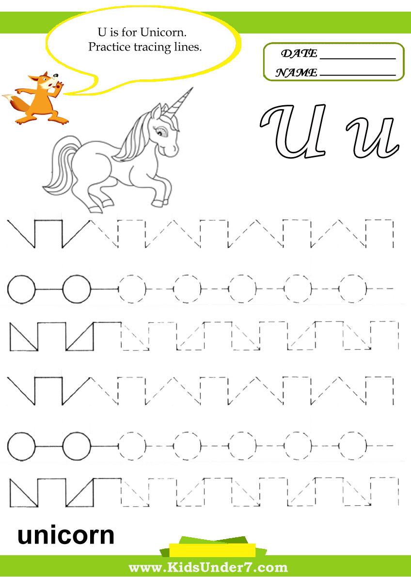 Kids Under 7: Letter U Worksheets