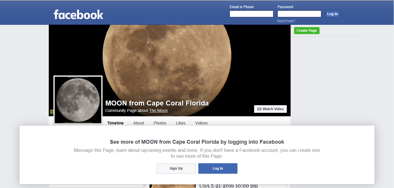 MOON from CAPE CORAL Florida FACEBOOK