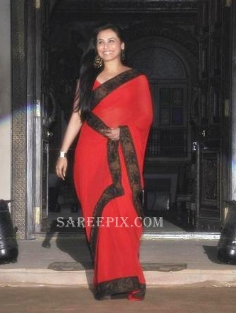 Rani mukherjee in red transparent saree photos at Sanjay leela ...