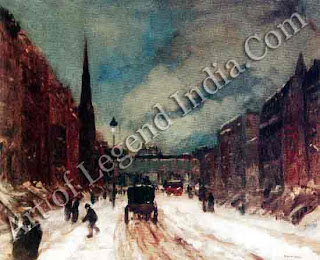 Street Scene with Snow, Robert Henri became the founder of the anti-academic Ashcan school. The new realistic trend was not shy in seeking its inspiration from all aspects of American city life. But, nevertheless, European influence remained strong. Henri's debt to Monet can be seen in his brushwork, which captures the immediacy of a scene.