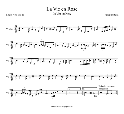 Tubepartitura Partitura de La Vie en Rose para Violin de Edith Piaf Partitura La Vida en Rosa