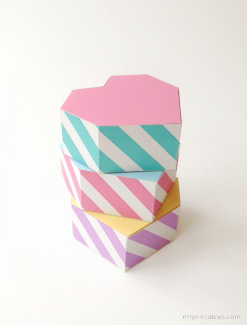 pastel heart favor boxes 6 Free Printable Geometric Heart Shaped Gift Boxes for Valentines Day from Mr Printables
