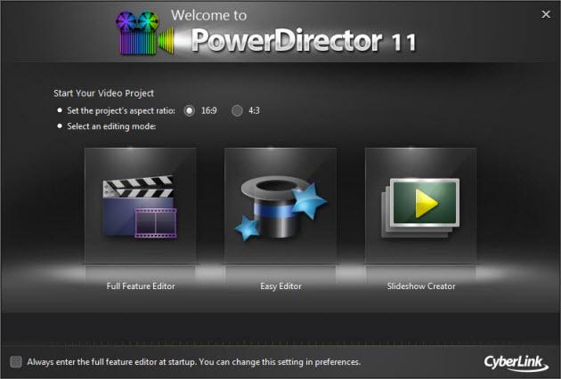 CyberLink PowerDirector 11 - entrada