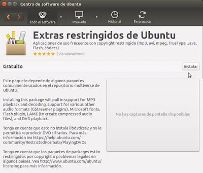 Extras restringidos de Ubuntu