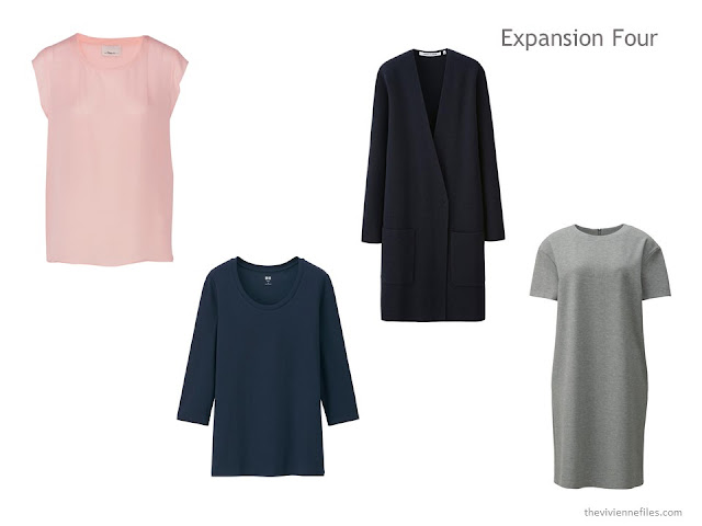 an Expansion Four with a blush blouse, navy tee and cardigan, and grey dress