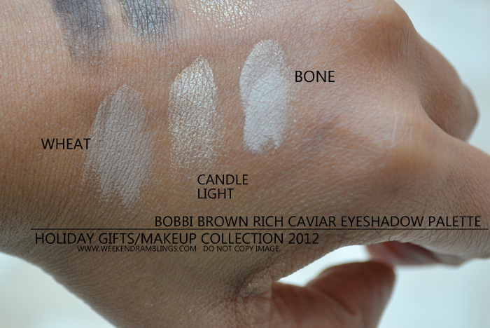 Bobbi Brown Rich Caviar Eyeshadow Palette Holiday 2012 Gifts Makeup Collection Indian Beauty Blog Darker Skin Swatches Bone Candle Light Gold Metallic Wheat