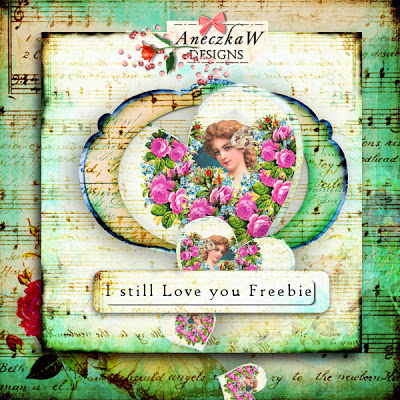"Free scrapbook vintage kit ""Love"" from Aneczkaw designs"