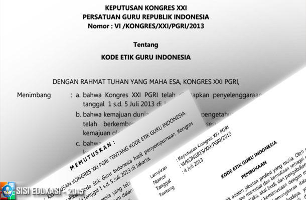 Kode Etik Guru Indonesia pada Keputusan Kongres XXI PGRI