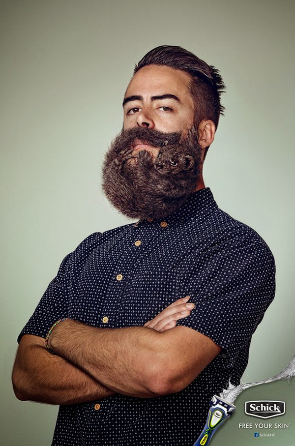 Happiness is... design & advertising - Schick NZ Free Your Beard campaign