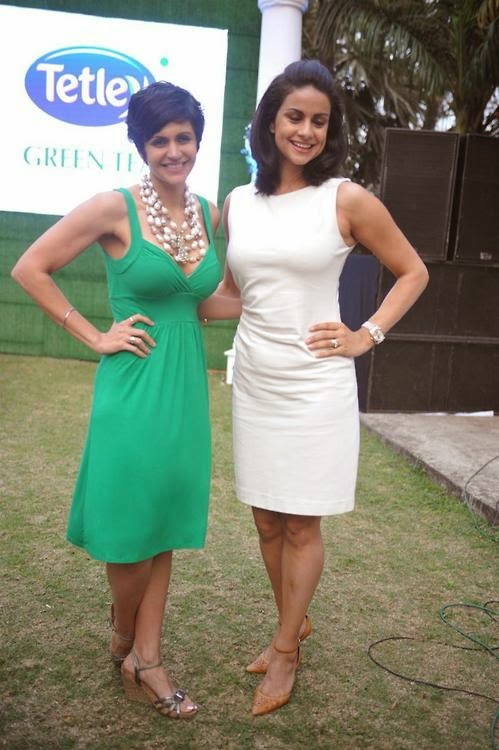 Mandira Bedi and Gul Panag Stills From Tetley Green Tea Re-Launch Event In Mumbai