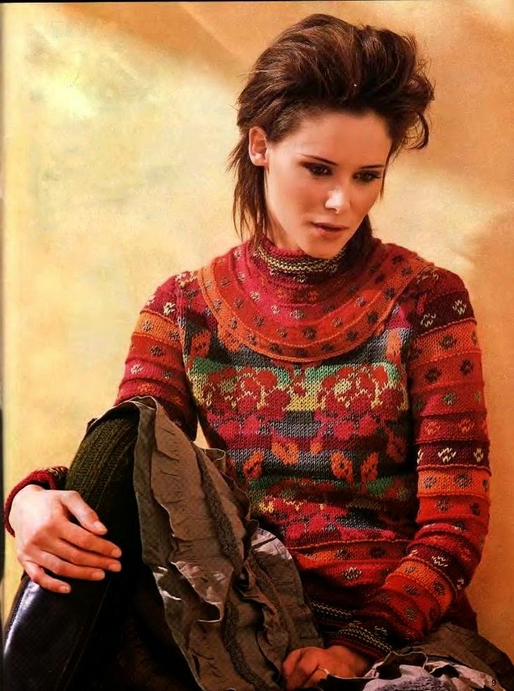 sweter na drutach w roze