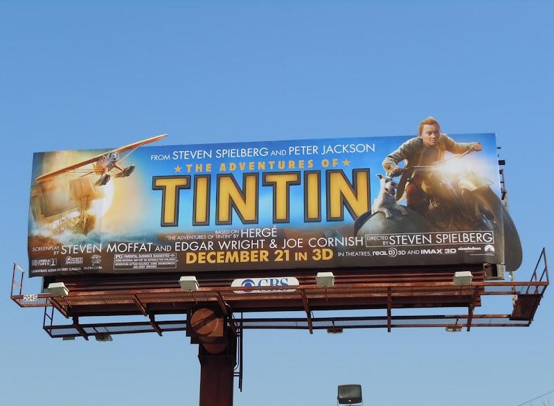 Tintin movie motorcycle billboard
