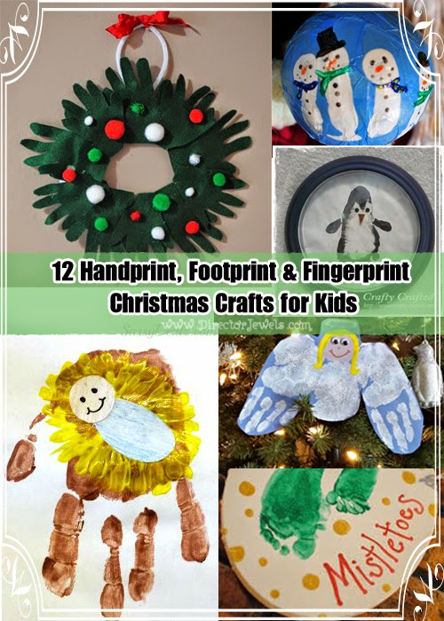 12 diy handprint footprint fingerprint kid christmas crafts