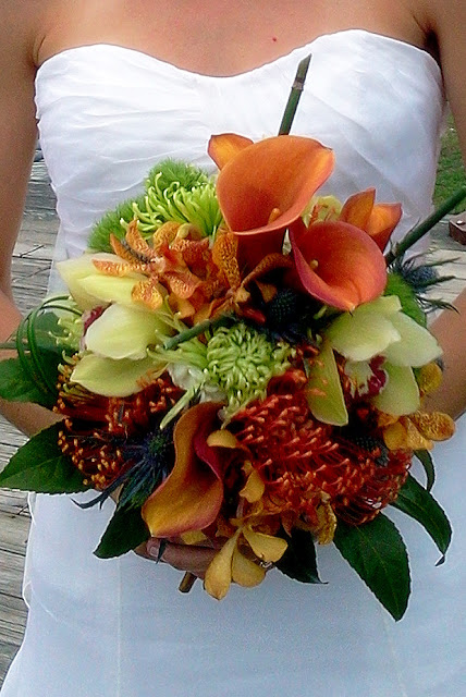 Bridal Bouquet, wedding, Pincushion protea, cymbidium, orchids, calla lily, Isha Foss Events
