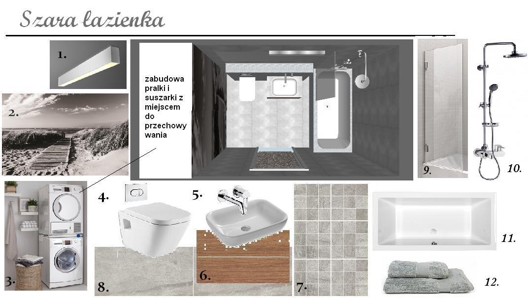 Mprojektownia Projekt łazienki Z Zabudowaną Pralką I Suszarką