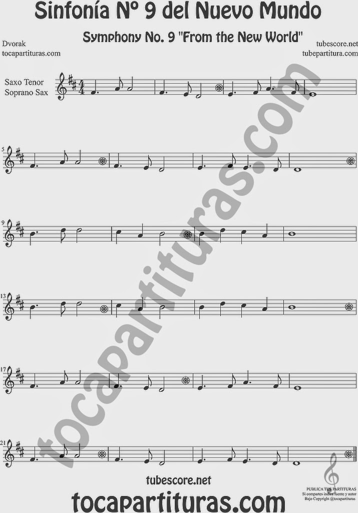 Sinfonía del Nuevo Mundo Partitura de Saxofón Soprano y Saxo Tenor Sheet Music for Soprano Sax and Tenor Saxophone Music Scores