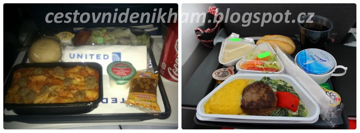 jídlo v letadle // meal on board a plane (United Airlines / Austrian Airlines)