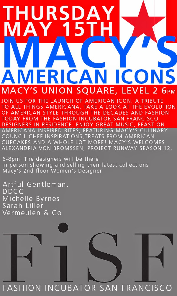 Macy's American Icons - May 15th, 6-8pm, Union Square SF 2nd Floor