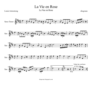 Partitura de La Vie en Rose para Saxofón Tenor y Saxo Soprano de Louis Armstrong para tocarla junto al vídeo. La Vie en Rose Tenor and Soprano Saxophone Sheet Music (music Tenor Sax score). También sirve para Saxofón Soprano (en Mi bemol)